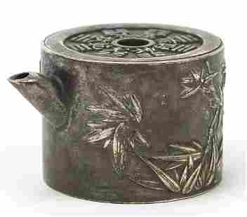 Chinese silver coloured metal teapot, 6....