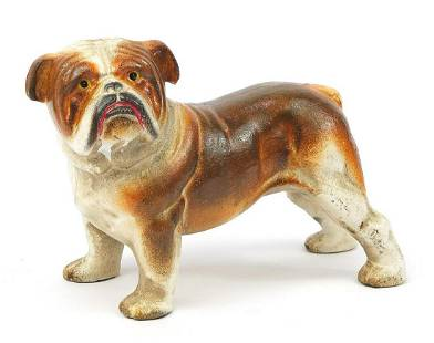 Painted cast iron English Bulldog, 20cm ...
