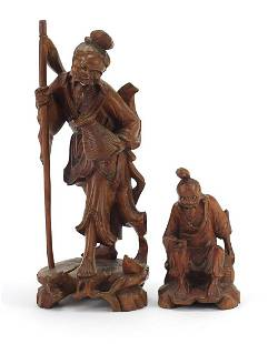 Two Chinese root wood carvings including...