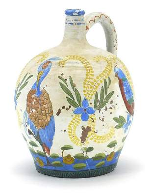 Continental ceramic jug hand painted wit...