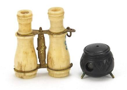 Two Stanhopes comprising bone binoculars...