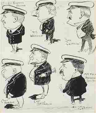 Naval caricatures including Lieutenant C...