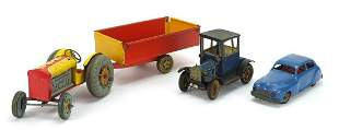 Antique and later tinplate toys comprisi...