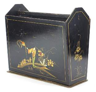 Chinese chinoiserie black lacquered maga...