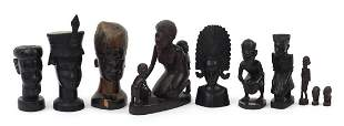 Ten African carved hardwood figures and ...