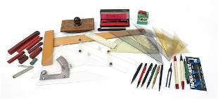Pens, pencils and drawing equipment incl...