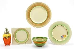 Art Deco ceramics including Three Claric...