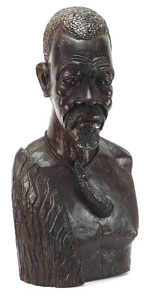 Large African carved wood bust of a trib...