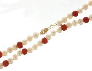 Chinese cultured pearl and coral bead ne...
