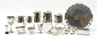 Silver plate including three footed salv...