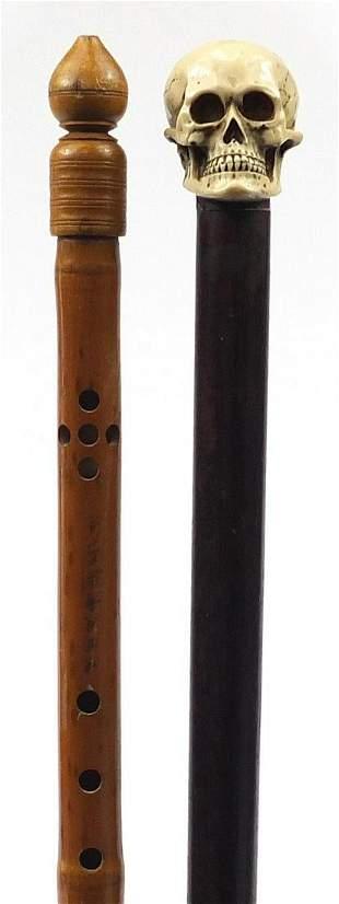 Two walking sticks comprising a hardwood...
