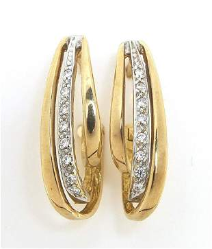 Pair of 9ct gold clear stone hoop earrin...