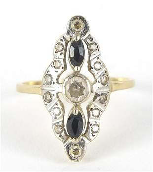 9ct gold Art Deco design sapphire and cl...