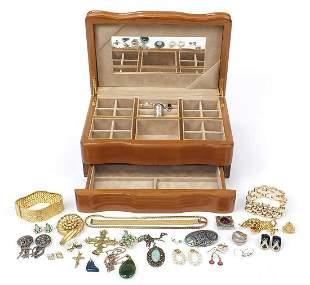 Costume jewellery arranged in a jeweller...