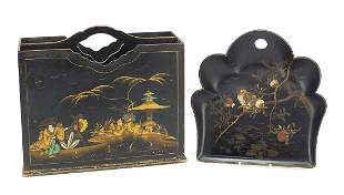 Chinese lacquered chinoiserie crumb tray...