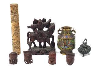 Chinese wooden and metalware including a...