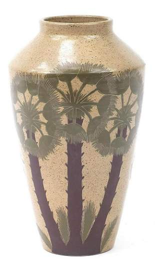 Large Continental pottery vase hand pain...