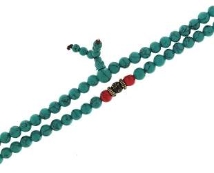 Chinese turquoise and coral coloured bea...