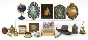 Sundry items including a silhouette of a...