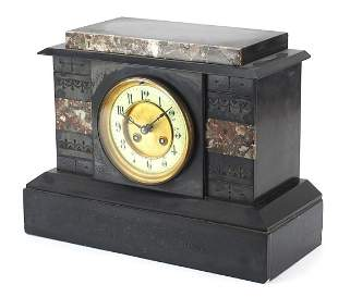 Victorian black slate and marble mantle ...