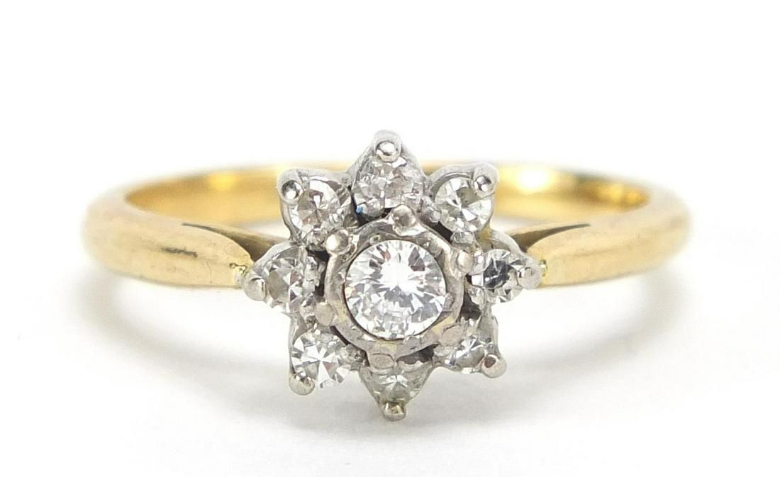 Unmarked gold diamond cluster ring, the ...