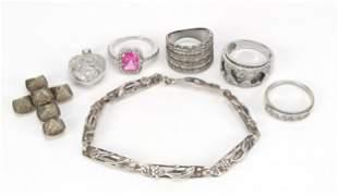 Silver jewellery including a masonic fol...