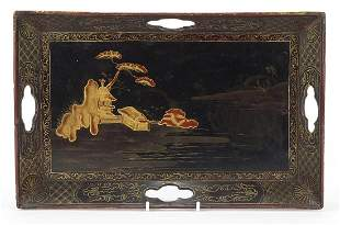 Chinese black lacquered chinoiserie tray...