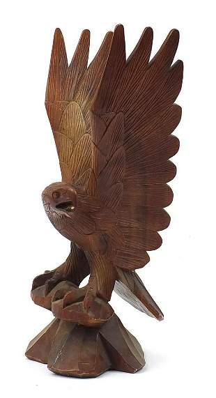 Large carved wood eagle, 64cm high