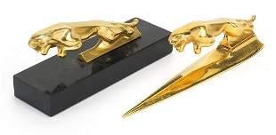 Gilt metal jaguar desk letter opener and...