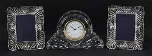 Waterford Crystal mantle clock and pair ...