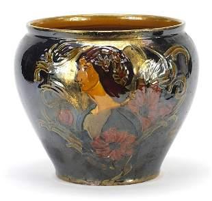 Art Nouveau pottery jardiniere hand pain...