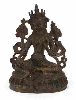 Chino-Tibetan partially gilt bronze figu...