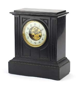 Victorian black slate mantle clock with ...