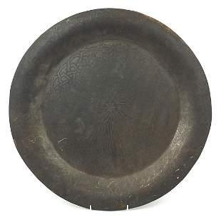 Indian Bidri ware iron tray silver inlay...