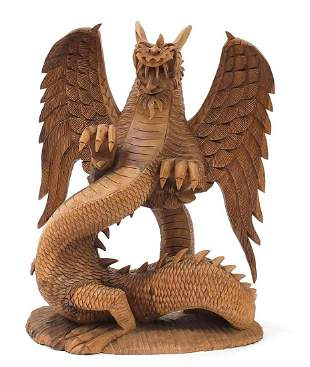 Large carved wood dragon, 44.5cm high
