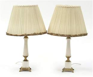 Pair of French style marble table lamps ...