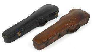 Two antique wooden violin cases, each 79...