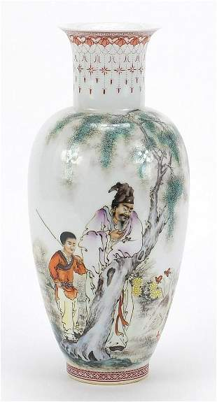 Chinese porcelain vase hand painted in t...
