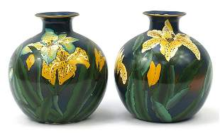 Pair of Continental porcelain vases hand...