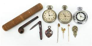 Objects including three Ingersoll pocket...