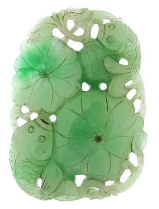 Large Chinese green jade pendant carved ...
