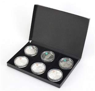 Six Elizabeth II 2012 Olympics silver pr...