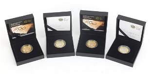 Four silver proof two pound coins by The...