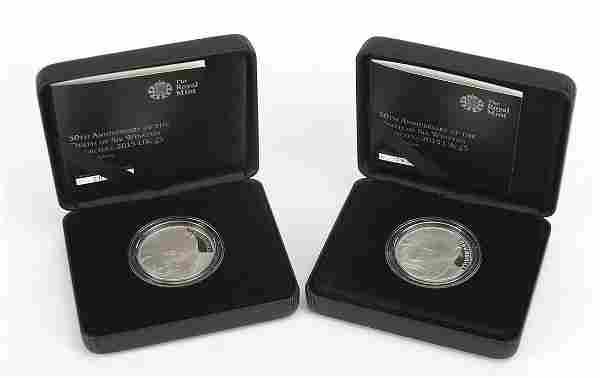Elizabeth II 2015 silver proof five poun...