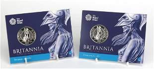 Two 2015 Britannia fifty pound fine silv...