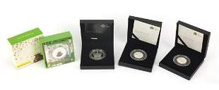Four silver proof coins by The Royal Min...