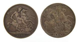 Two Queen Victorian 1889 silver crowns