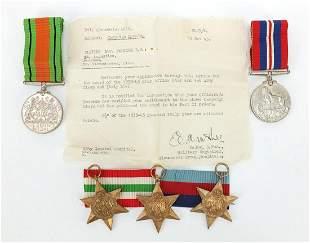 Five British military World War II medal...
