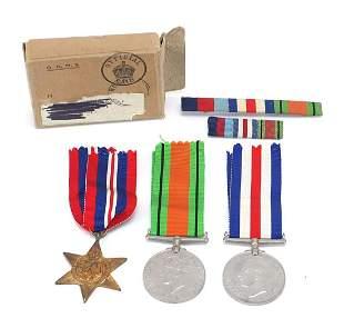 Three British military World War II meda...