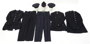 Three vintage Fireman's uniforms and two...
